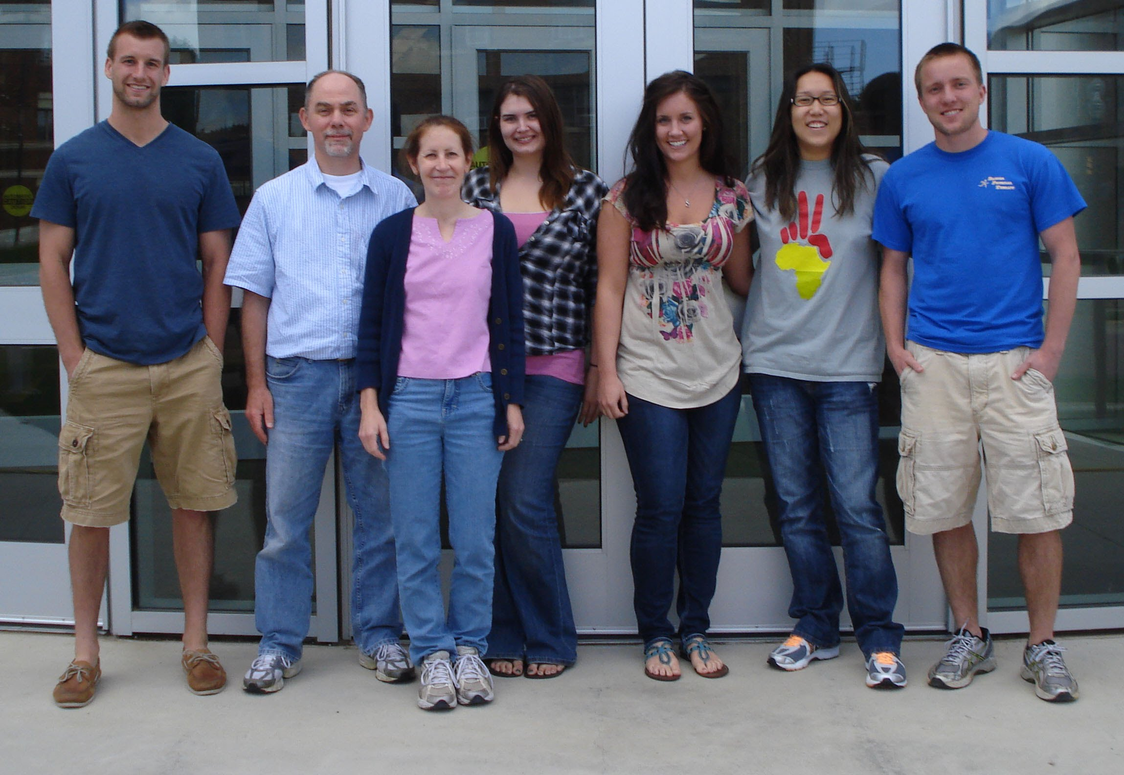 Burrell/Moss Lab 2011: From left to right are Jeb List, Brian Burrell, Brenda Moss, Torrie Rasmussen, Ally VanderWeide, Sharleen Yuan and Eric Christianson.